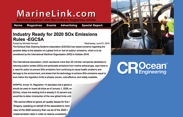 Industry Ready for 2020 SOx Emissions Rules: EGCSA